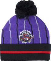 Mitchell & Ness Raptors Stripped Cuffs Pom Beanie