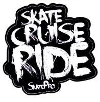 Skate Cruise Ride White Klistremerke